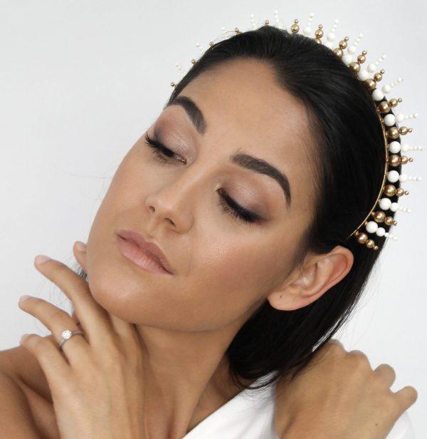 Swarovski Sunburst Crown (Gold And Ivory)