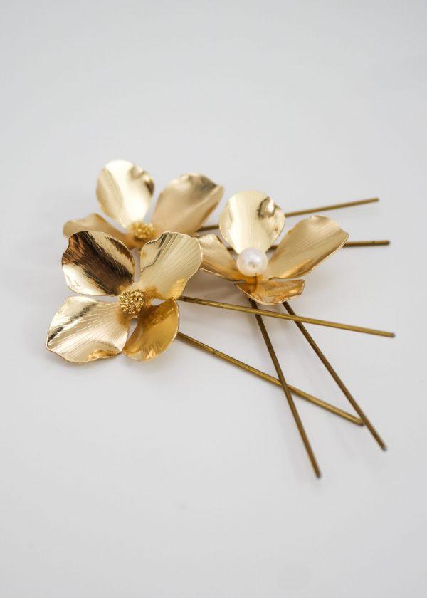 Golden Hydrangea Hairpins