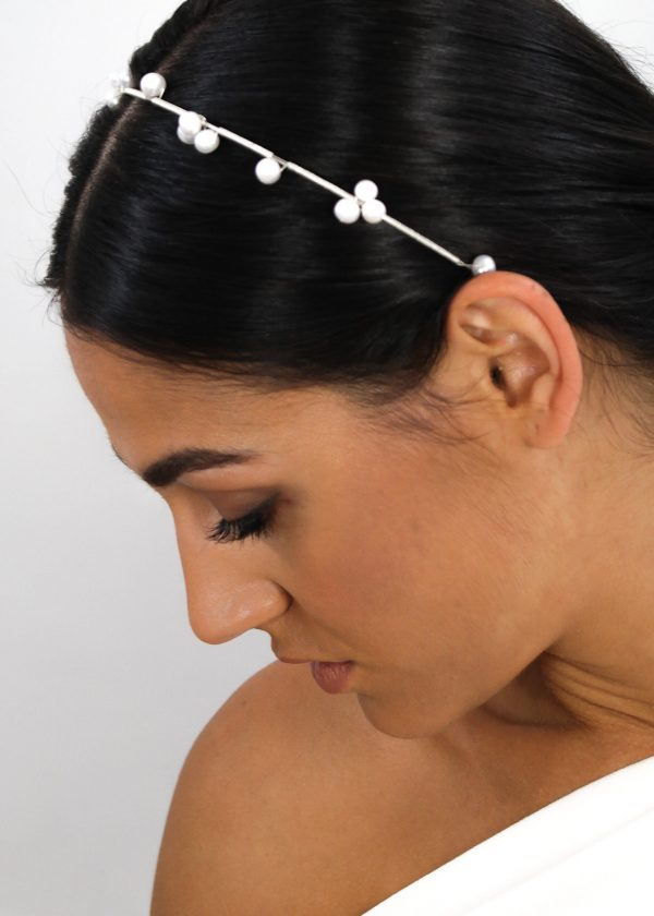 Silver Freshwater 'Pearl Cluster' Headband